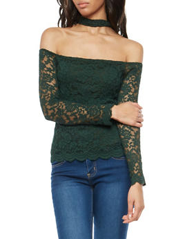 Lace Off the Shoulder Choker Neck Top - 3012054269786