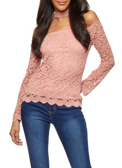 Lace Off the Shoulder Choker Neck Top - 3012054269786