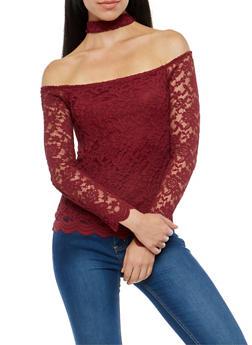 Lace Off the Shoulder Choker Neck Top - BURGUNDY - 3012054269786