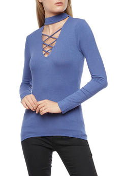 Ribbed Knit Lace Up Long Sleeve Top - 3012054269803