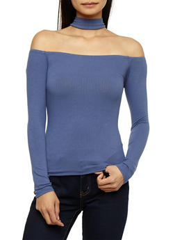 Ribbed Knit Off the Shoulder Choker Neck Top - 3012054269812