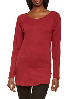 Solid Long Sleeve Tunic Top with Crew Neck - 3014033875121