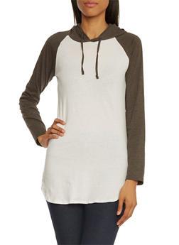 Raglan Tunic Top with Drawstring Hood - 3014033875342