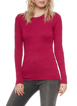 Cable Knit Top with Long Sleeves - 3014038341002