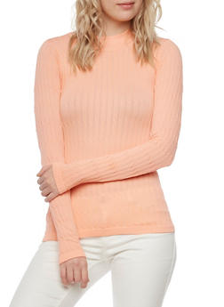 Cable Knit Top with Long Sleeves - BLUSH - 3014038341003