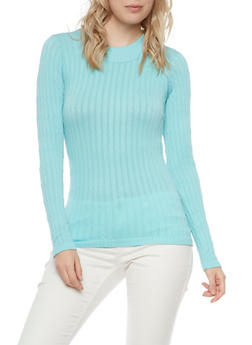 Cable Knit Top with Long Sleeves - 3014038341003