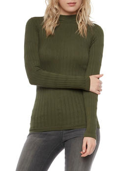 Cable Knit Top with Mock Neck - 3014038341011