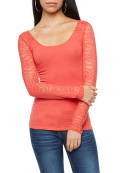 Long Sleeve Lace Top - 3014054263810