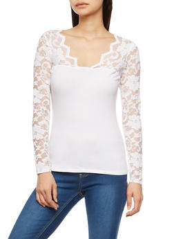 Lace Sleeve Basic Top - WHITE - 3014054265641