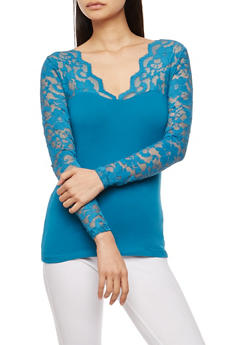 Lace Sleeve Basic Top - 3014054265641