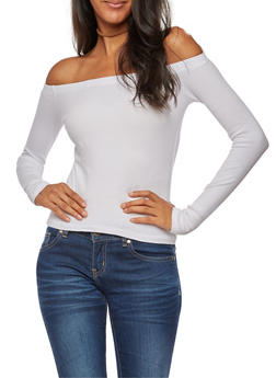 Ribbed Knit Off the Shoulder Top - WHITE - 3014054265821