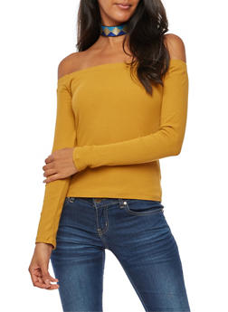 Ribbed Knit Off the Shoulder Top - 3014054265821