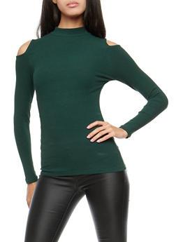 Basic Ribbed Knit Cold Shoulder Top - 3014054265823