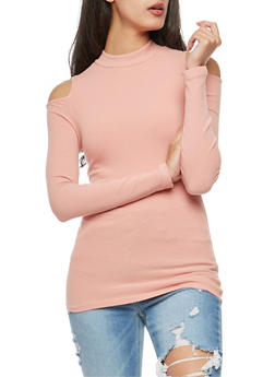 Basic Ribbed Knit Cold Shoulder Top - 3014054265823