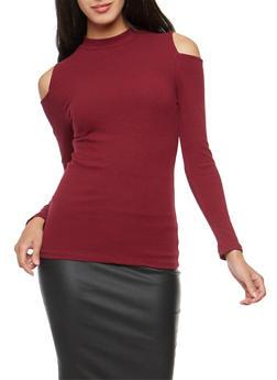 Basic Ribbed Knit Cold Shoulder Top - BURGUNDY - 3014054265823