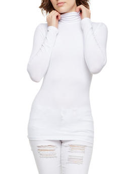 Solid Turtleneck Top - WHITE - 3014054266225