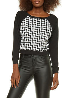 Houndstooth Cropped Sweatshirt - 3014054267143