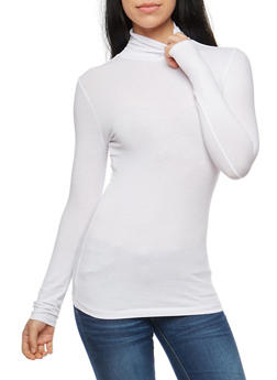 Solid Long Sleeve Ruched Turtleneck Top - 3014054267224