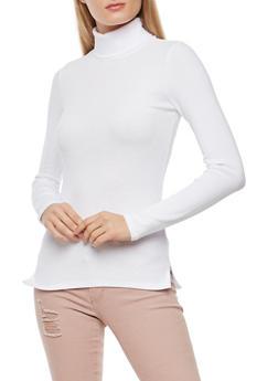 Basic Ribbed Knit Turtleneck Top - WHITE - 3014054267932