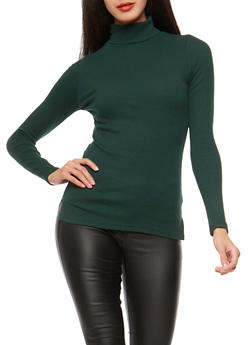 Basic Ribbed Knit Turtleneck Top - 3014054267932