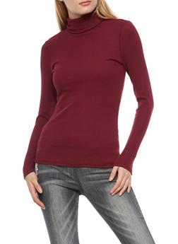 Basic Ribbed Knit Turtleneck Top - 3014054267932
