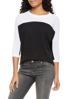 Cropped Color Block Top - WHT-BLK - 3014054267964