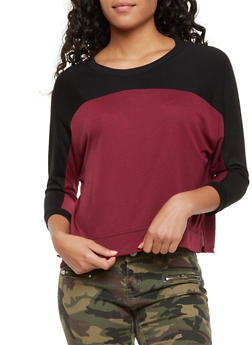Cropped Color Block Top - 3014054267964