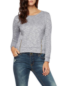 Heathered Long Sleeve Top with Zip Accents - 3014054267980