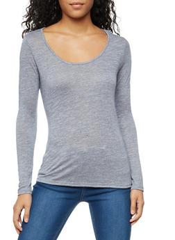 Long Sleeve Scoop Neck Top - 3014054268025