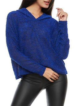 Marled Knit Hooded Sweater - 3014054268031