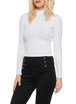 Crop Top with Mock Neck - WHITE - 3014054268033