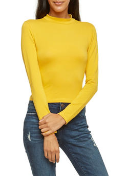 Crop Top with Mock Neck - GOLD - 3014054268033
