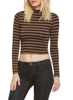 Striped Crop Top with Mock Neck - 3014054268034