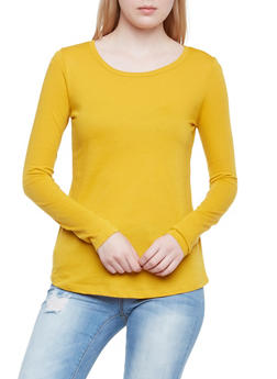 Jersey Top with Long Sleeves - GOLD - 3014054268035