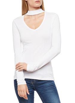 Long Sleeve Choker Neck Top - WHITE - 3014054268774