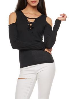 Long Sleeve Cold Shoulder Lace Up Top - BLACK - 3014054268916