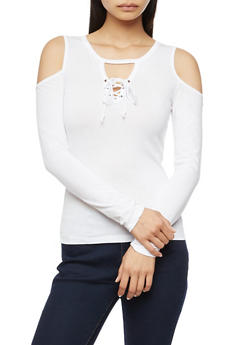 Long Sleeve Cold Shoulder Lace Up Top - WHITE - 3014054268916