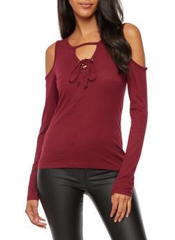Long Sleeve Cold Shoulder Lace Up Top - BURGUNDY - 3014054268916