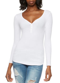 Ribbed Top with Buttoned V-Neck - WHITE - 3014054269147