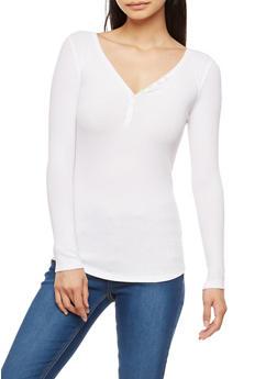 Basic V Neck Ribbed Knit Top - WHITE - 3014054269148