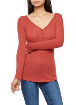Basic V Neck Ribbed Knit Top - 3014054269148