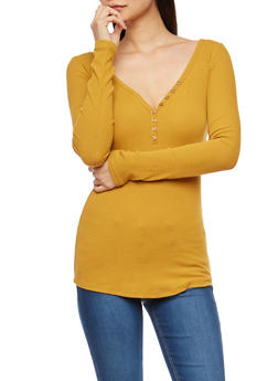 Basic V Neck Ribbed Knit Top - 3014054269148