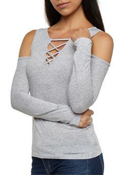 Long Sleeve Cold Shoulder Solid Caged Front Top - 3014054269775