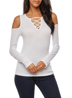 Long Sleeve Cold Shoulder Solid Caged Front Top - WHITE - 3014054269775