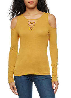 Long Sleeve Cold Shoulder Solid Caged Front Top - 3014054269775
