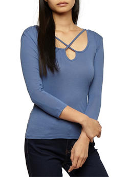 Long Sleeve Caged Neck Top - 3014054269776