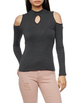 Long Sleeve High Neck Cold Shoulder Top - 3014054269806