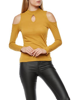 Long Sleeve High Neck Cold Shoulder Top - 3014054269806