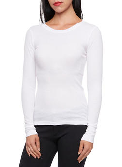 Long Sleeve Crew Neck Thermal Top - WHITE - 3014066240503