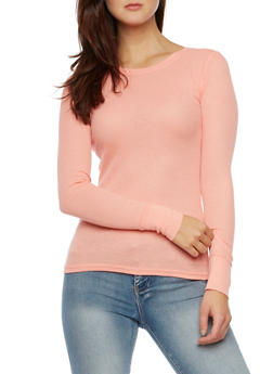 Long Sleeve Crew Neck Thermal Top - BLUSH - 3014066240503